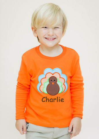 Applique Turkey Orange Knit Long Sleeve Shirt