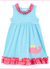Girl's Turquoise Striped Knit Pink Applique Whale Summer Dress