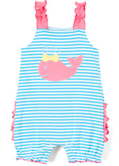 Girl's Turquoise Striped Knit Pink Applique Whale Summer Bubble