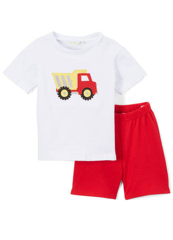 Boy's Applique Red Dump Truck Knit Short Set