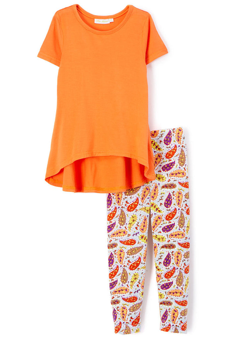 Girl's Orange Paisley Short Sleeve Bamboo Set Summer Outfit