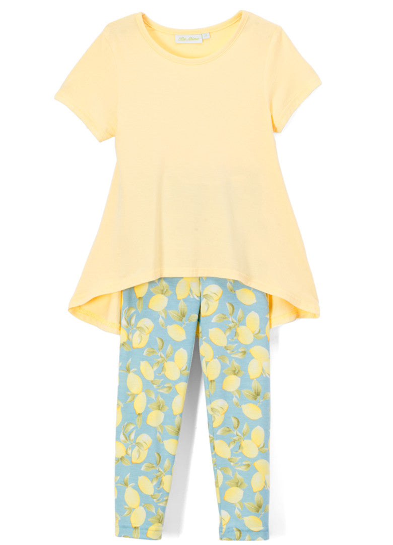Girl's Yellow Short Sleeve Shirt and Lemon Print Legging Bamboo Set Summer outfit