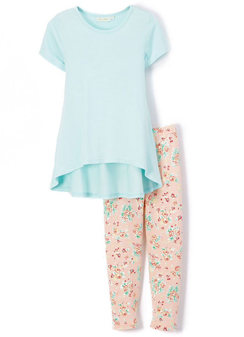 Girl's Aqua Short Sleeve Shirt and Peach Floral Print Legging Bamboo Set Summer Outfit