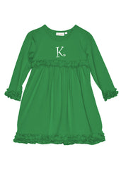 Girls Kelly Green Knit Personalized Monogram Dress