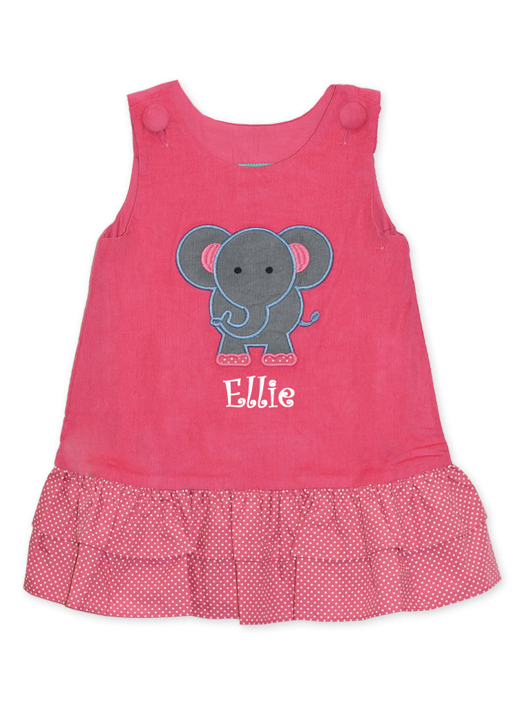 Girl's Monogram Applique Elephant A Line Dress