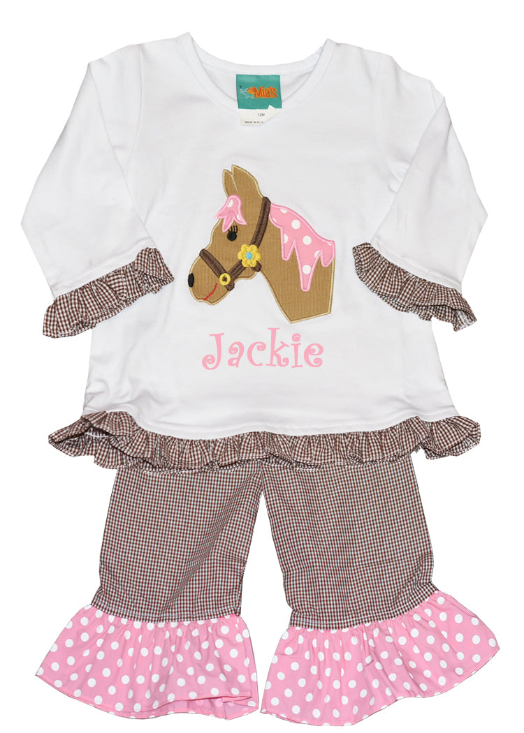 Girl's Monogram Applique Horse Brown & Pink Pant Set