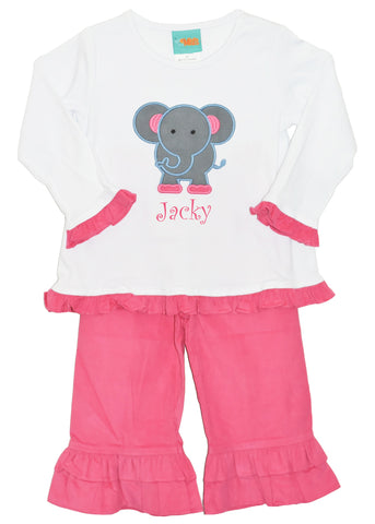Girl's Applique Elephant Hot Pink Pant Set