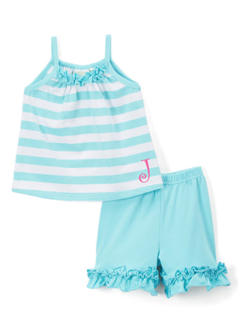 Girls Aqua Stripe Tank & Ruffle Shorts