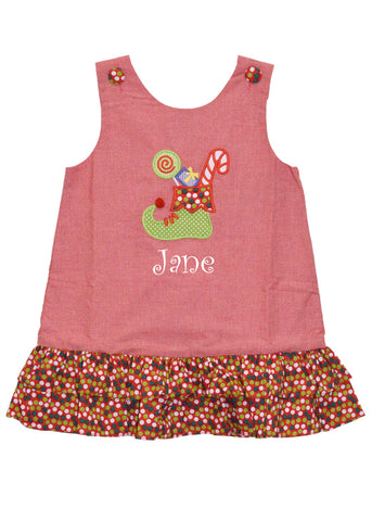 Girl's Applique Christmas Stocking A Line Dress