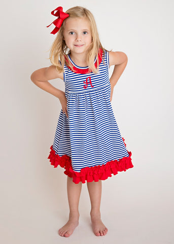 Girls Blue Stripe & Red Ruffle Knit Dress