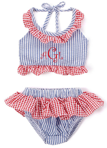 Girl's Blue and Red Seersucker 2 Piece Swimsuit