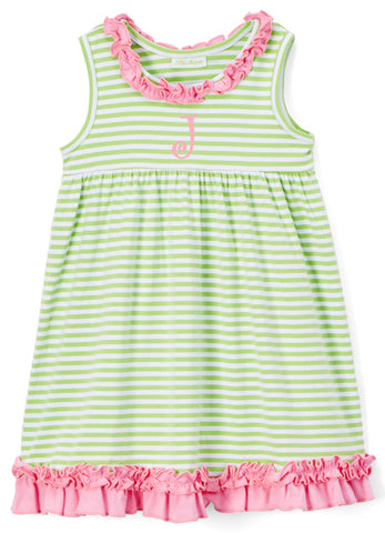 Girls Green Stripe & Pink Ruffle Knit Dress