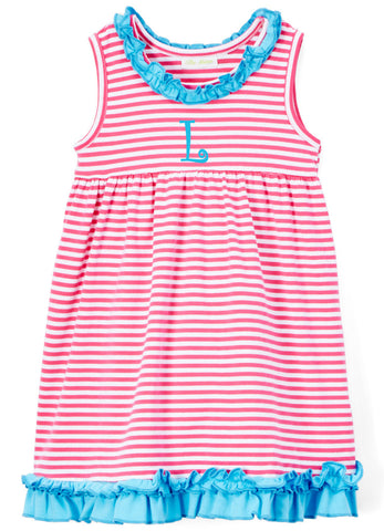 Girls Hot Pink Stripe & Turquoise Ruffle Knit Dress