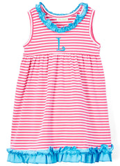 Girls Monogram Hot Pink Stripe & Turquoise Ruffle Knit Dress