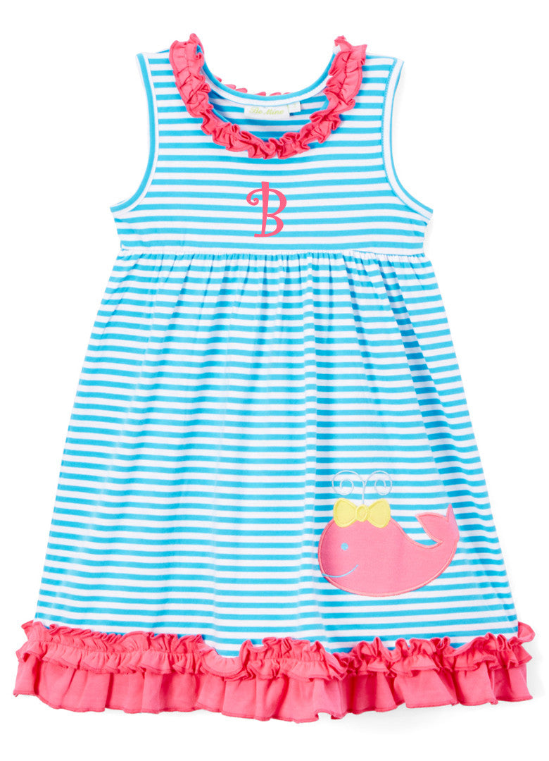 Girl's Turquoise Striped Knit Pink Applique Whale Monogrammed Dress