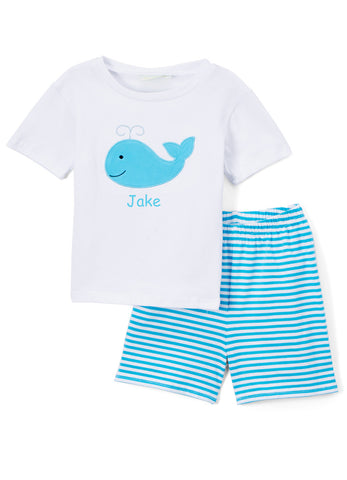 Boy's Applique Turquoise Whale Knit Short Set