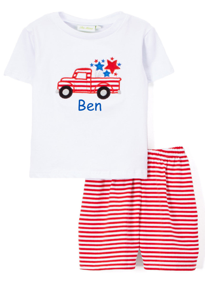 Boy's Applique Truck Knit Short Set Custom Fourth of July outfit