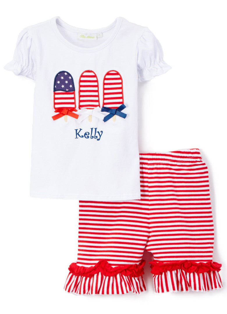 Girl's Comfy Knit Applique Popsicle Custom Fourth of July Short Set