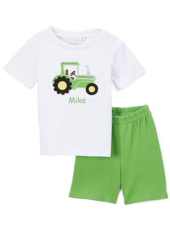 Boy's Applique Green Tractor Truck Knit Short Set