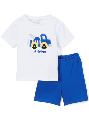 Boy's Applique Blue Tow Truck Knit Short Set