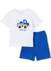 Boy's Applique Blue Tow Truck Knit Monogram Short Set