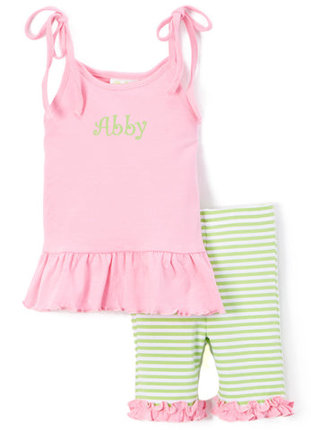 Girl's Comfy Knit Pink and Green Stripe Biker Short Set