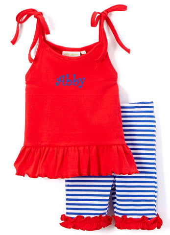 Girl's Comfy Knit Red and Royal Blue Stripe Biker Short Set