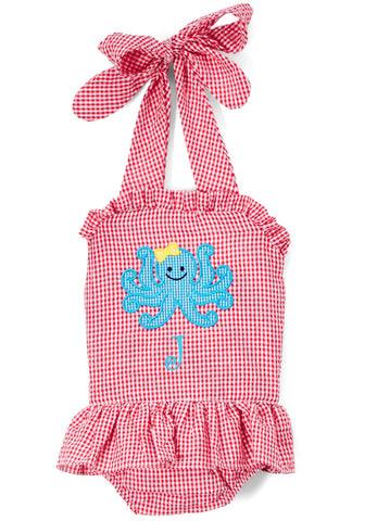 Girl's Octopus Applique Red Seersucker Swimsuit