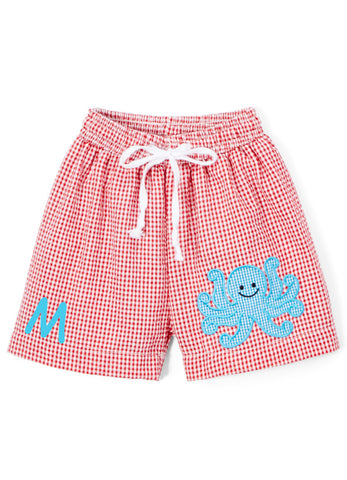 Boy's Swim Trunks - Applique Octopus Red Seersucker