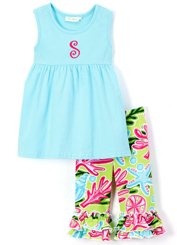 Bright Summer Turquoise & Tropical Print  Capri Set