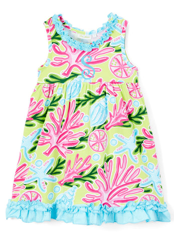 Bright Summer Tropical Print Dress