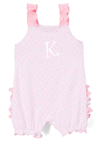 Girls Light Pink Arabesque Print Knit Ruffle Bubble