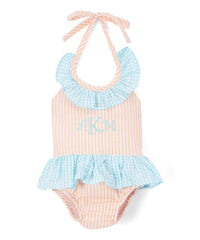 Girl's Orange and Turquoise Seersucker Monogram One-Piece Swimsuit