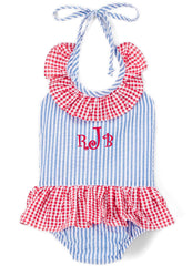 Girl's Blue and Red Seersucker Monogrammed One-Piece Summer Swimsuit
