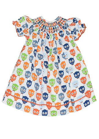 Girl's Hand Smocked Geometric Owl Print Bishop Dress