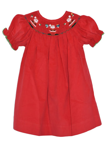 Hand Smocked Santa Red Corduroy Girl's Bishop Dress