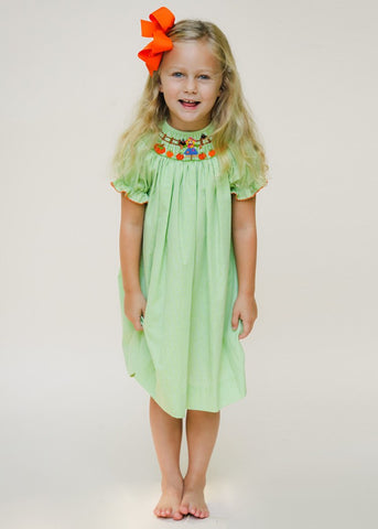 Hand Smocked Scarecrow Green Bishop Dress