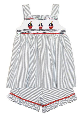 Girl's Hand Smocked Sailboat Short Set