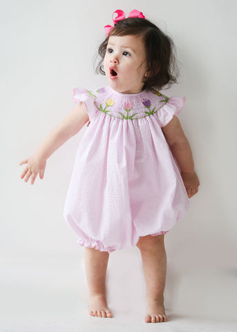 Girl's Hand Smocked Tulip Bubble