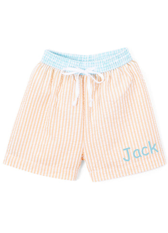 Boy's Swim Trunks Orange and Aqua Seersucker