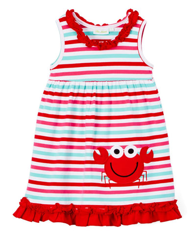 Girl's Multicolor Striped Knit Applique Crab Dress