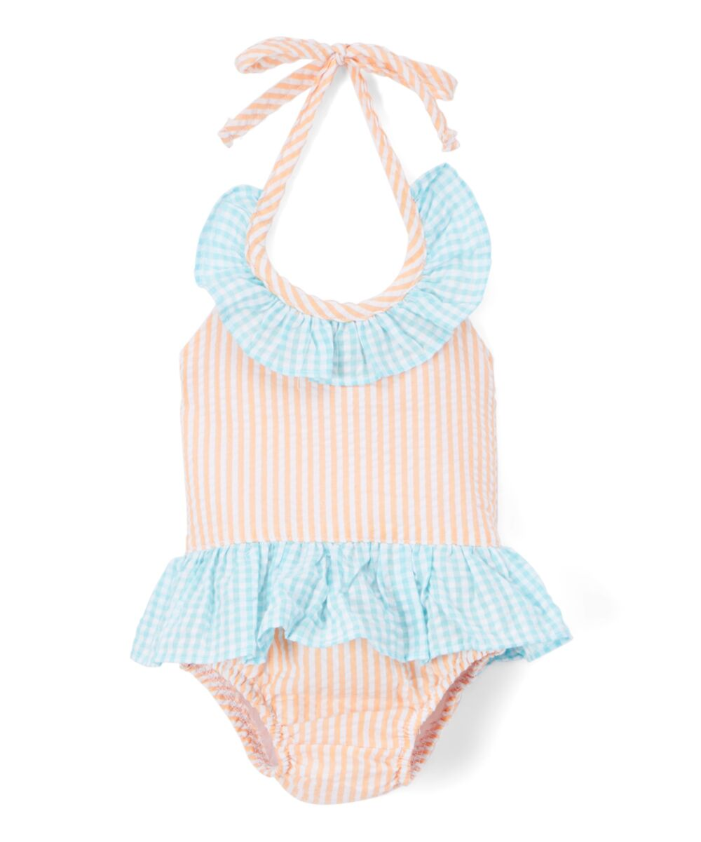 Girl's Orange and Turquoise Seersucker One-Piece Bathing Suit