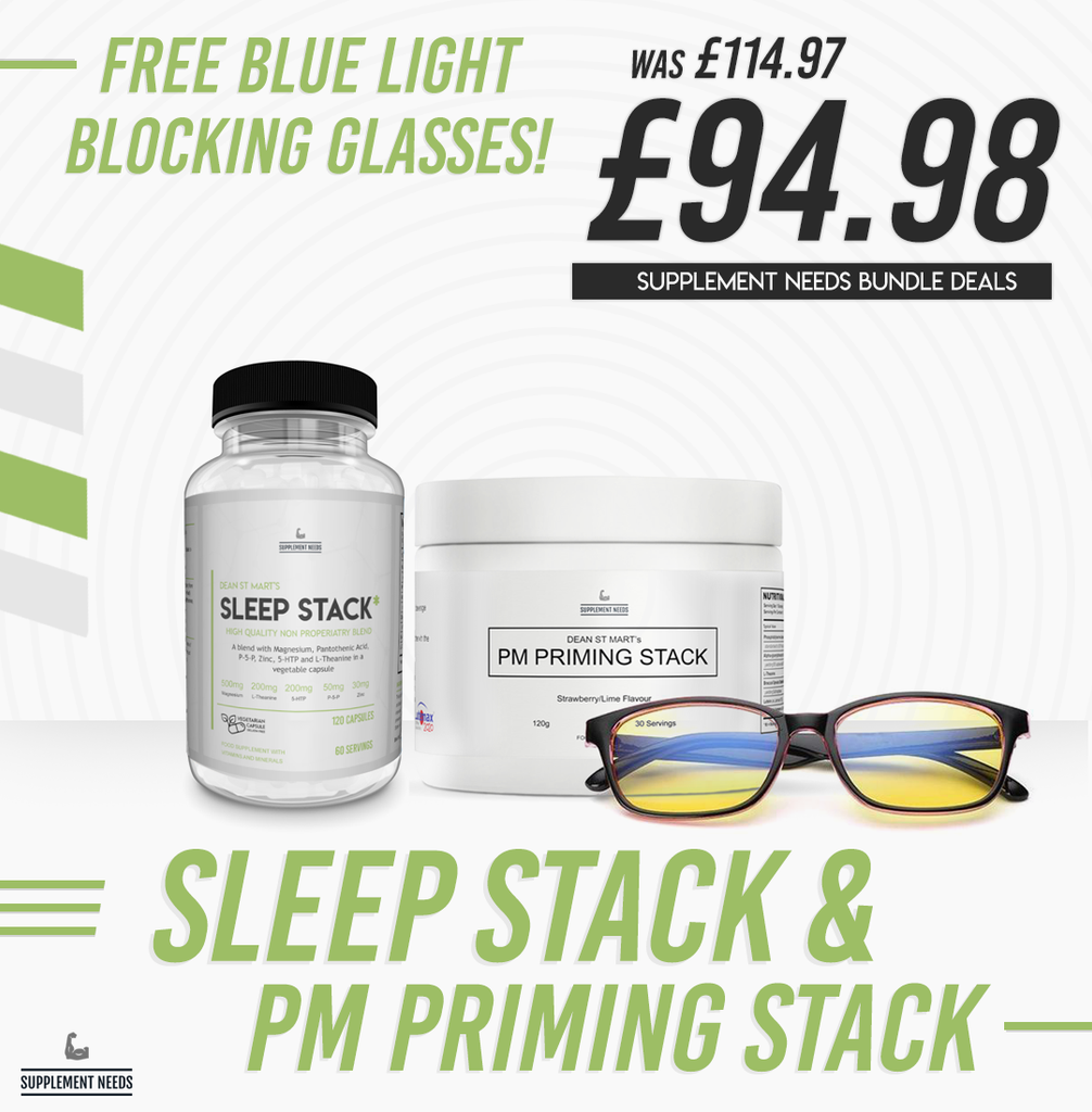Supplement Needs Sleep Stack, PM Stack + FREE Blue Light Glasses