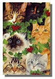 Cat Christmas Cards -Its a Cats Life! by Avril Haynes Kittens and Holly Mini Cards Pack of 5