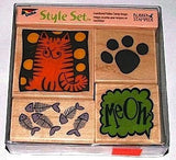 FOUR Coordinated CAT Wood Block Rubber Stamps SET