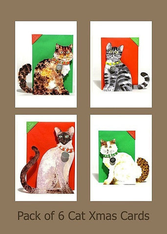 Assorted Cat Christmas card 3D Xmas Cards ( Pack of 6 )