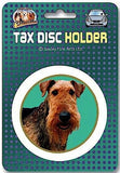 Airedale Terrier dog Car Tax Disc Holder