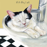 Black and White Cat in a Wash Basin Sink BLANK birthday card Funny cards for ...