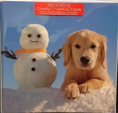A Pack Of 6 Yellow Labrador Retriever Puppy Dog and Snowman Charity Christmas...