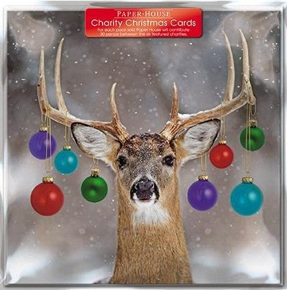 Charity Christmas Cards - (PH3670) - Decorated Deer - Pack Of 6 Cards - Sold ...